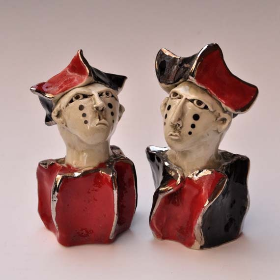 Sculptural Porcelain Salt and Pepper Venetian Mime Shakers with 18k Gold