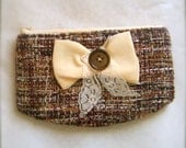 Grand.  Tweed zipper pouch w/ bow and vintage button