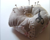 Charmed Lady.  Linen and lace pincushion with vintage button and printed shears...