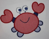 Crab 4x4 and 5x7, 6x10 machine embroidery applique design