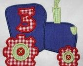 Birthday Tractor machine embroidery applique design 135