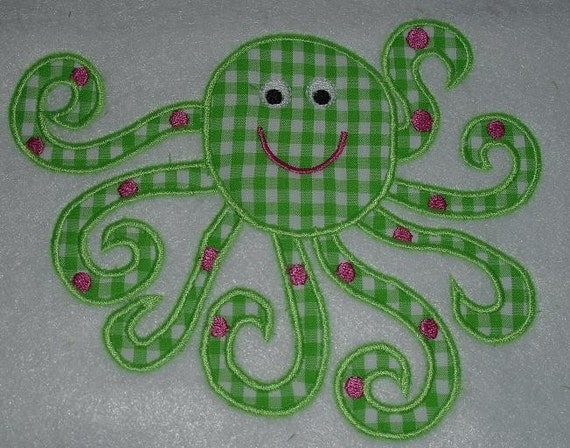 Octopus Applique 4x4, 5x7, 8X12 machine embroidery applique design-  perfect for boys and girls