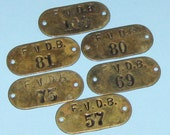 Vintage Antique Brass Number Tags Brass Numbered Tag Hotel Room Number Tag Locker Tag Tags DIY Jewelry Tags