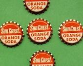 Five Vintage Sun Crest Orange Soda Bottle Caps  Cap Cork Lining