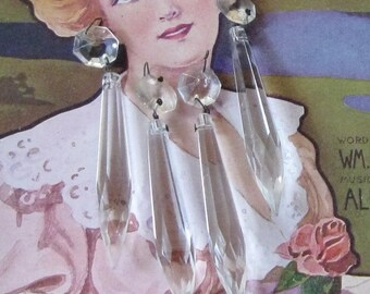 4 Antique Vintage Chandelier Crystals Chandelier Prisms Glass Prisms Crystals