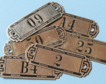 3 Antique Lyon Metal Tags Gym Locker Basket Tags ID Numbered Tags Number Tag Name Plate Plates Steampunk Jewelry DIY Jewelry