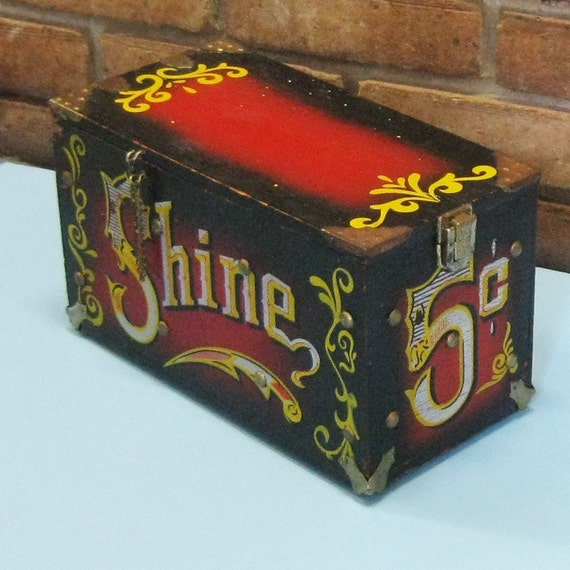 Vintage Wooden Shoe Shine Box