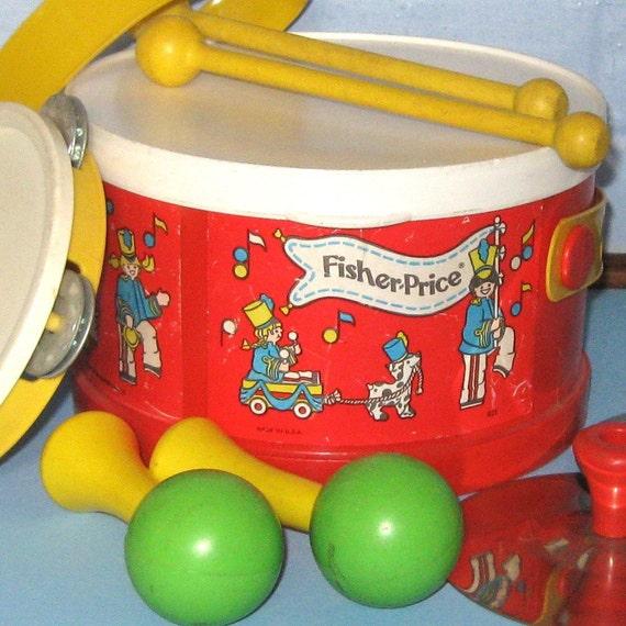 vintage fisher price 921 drum cymbals tambourine fisher price. Black Bedroom Furniture Sets. Home Design Ideas