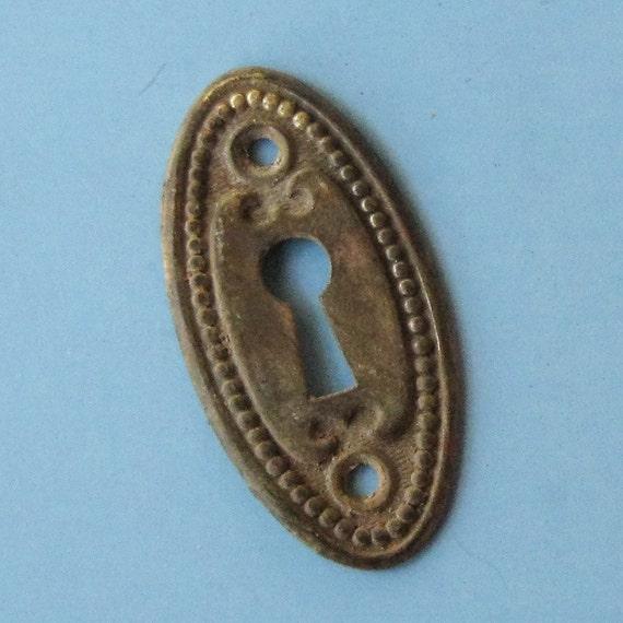 Antique vintage brass keyhole key hole cover escutcheon - Antique peephole ...