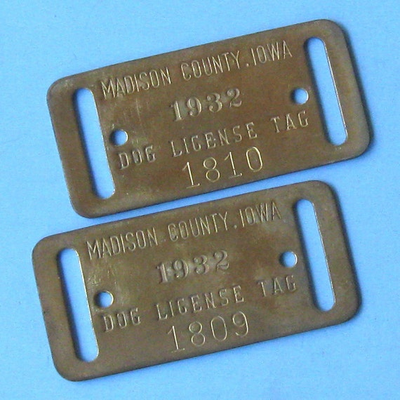 2 Vintage Dog Tags License Tags Brass  Number Numbered Dog Tag Tags Brass Dog License Tags 1932 Dog Tags Steampunk DIY Jewelry