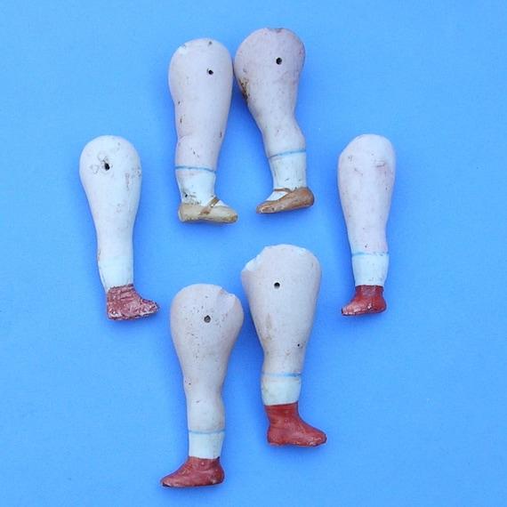 6 Antique Bisque German Doll Legs Handpainted German Doll Legs