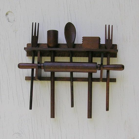 Retro Kitchen Hooks: Vintage Utensil Rack Vintage Kitchen Utensil Rack Vintage Wood
