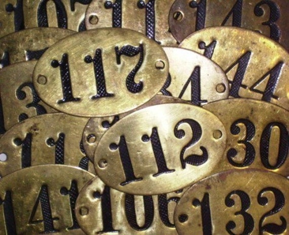 5 Vintage Brass Number Hotel Door Numbers Locker Numbers RESERVED FOR ANNE PLEASE DO NOT BUY