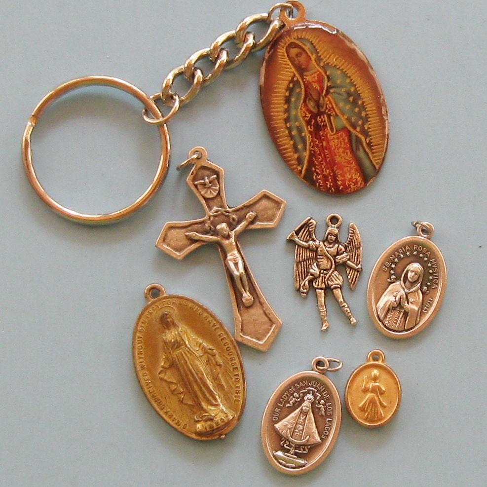 Christian Charm Bracelets: 7 Religious Medals Saints Cross Religious Jewelry Charms