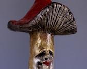 Mushroom Christmas Tree Ornament, Twirl the Mushroom Figure, Sculpture