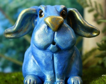 Easter Bunny, Woodland Wild Rabbit Sculpture, Nilima the Blue Bunny