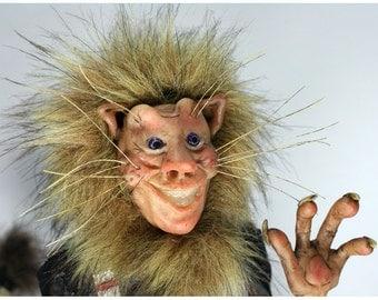 Lion Art Doll Sculpture, Leonello the CAT man Figurine