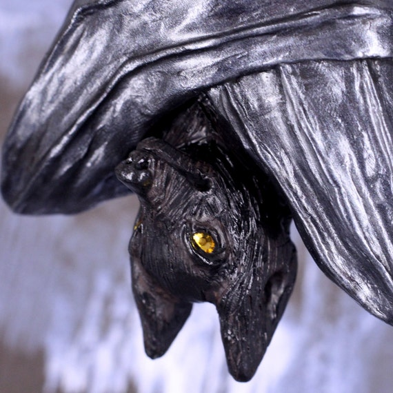 Bat Ornament Sculpture, Purnima the Upside Down Bat