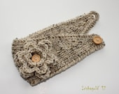 Knitted Flower Headband - Ear Warmer - Headpiece in Oatmeal Tweed