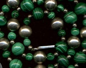 Vintage Mexican Malachite and Sterling Beads Necklace