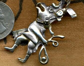 Vintage Indian Sterling Masked Dancer Necklace with sterling chain
