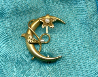 Antique ART NOUVEAU 10K GOLD and Pearl Honeymoon Brooch