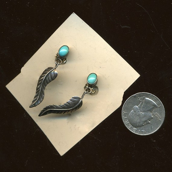 Vintage American Indian Sterling and Turquoise Earrings