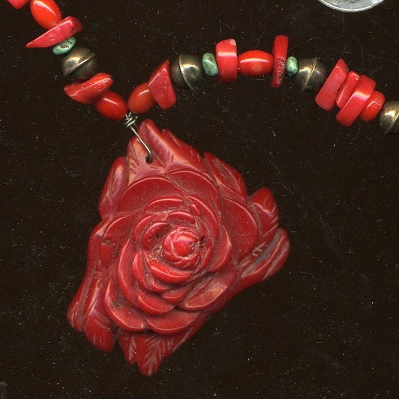 Vintage Bamboo Coral Carved Pendant Necklace with Coral Turquoise and Sterling
