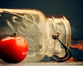 Red Kitchen art print |  Fine art photography print of country red rustic jar