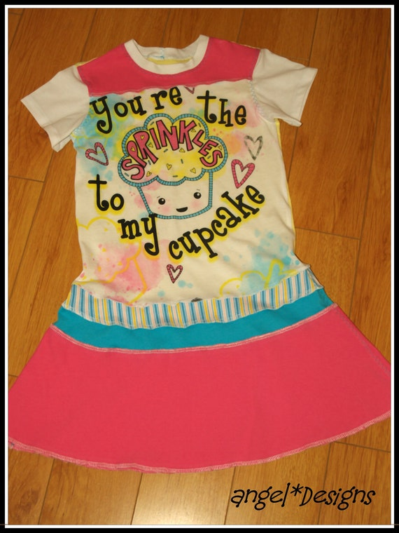 """UpCycle Dress """"Your the Sprinkle on my Cupcake"""" OOAK 6/7 Girls CherryLane Boutique"""