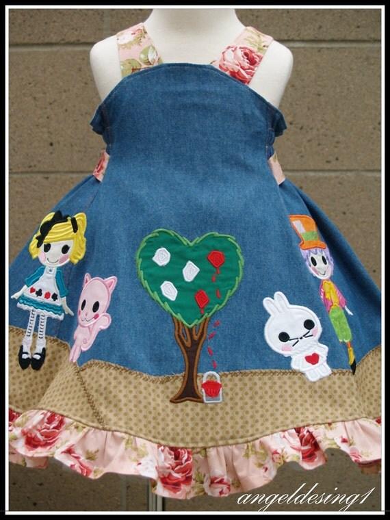 LaLa Alice In WonderLand Appliqued Feliz dress OOAK 2T CherryLane Boutique