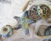 Come to the Grotto With Me..Raku Mix Ocean Blue Pendants/Cabochon