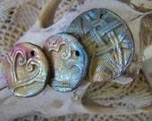 Three Teal Pink and Gold Primitive Flourish Pendants
