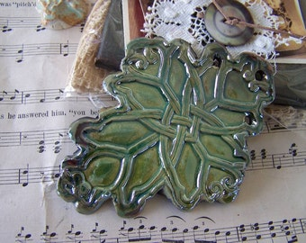 Evergreen Raku Celtic Love Knot Cross Pendant/Ornament