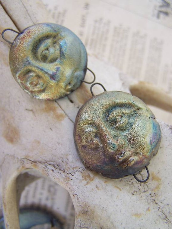 I Shall Avert My Eyes At the Appropriate Time....Man in the Moon...  Two Raku Pendant