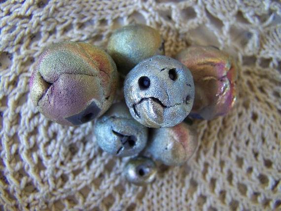 Seven Raku Angry Beads