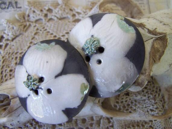 Dogwood Blossoms Black White Two Raku Domed Buttons