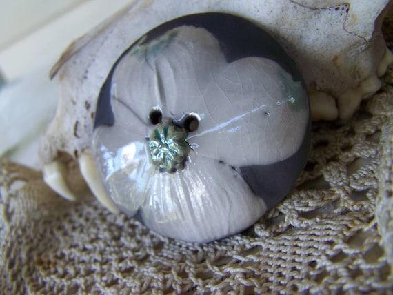 Dogwood Blossom...Primitive Raku Domed Button