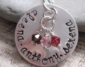 Family Circle HAND STAMPED personalized name necklace with crystal dangles