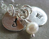 Initals in mini personalized necklace with pearl dangle