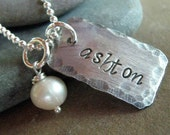 Personalized Gift for Mom - Only One personalized hand stamped necklace - custom name jewelry -
