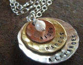 Layered mommy necklace - Simplicity Mixed Metal mothers personalized necklace -  hand stamped necklace