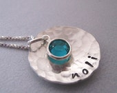 Simply One sterling silver customized name necklace with birthstone