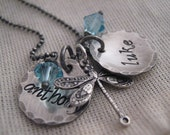 Fly Two - hand stamped mothers necklace - hand stamped necklace  with dragonfly charm - birthstone necklace