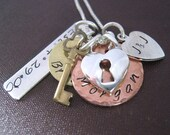 family hand stamped necklace The Keys to my Heart charm necklace Mixed Metal mothers necklace