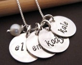 Hand Stamped Mommy Necklace - Four Loves - personalized mothers necklace with pearl