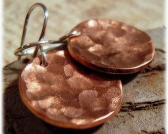 Copper Earrings - Hammered Metal Earrings - Coin Earrings