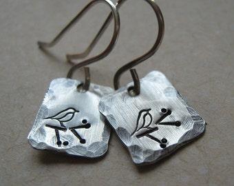 Little Birdie sterling silver earrings