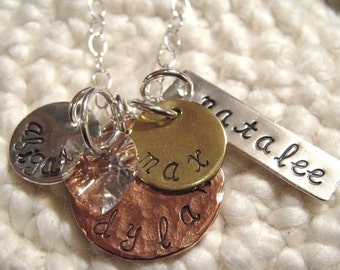 Hand Stamped Necklace - Mix It Up Family -  personalized necklace - Family Necklace - Mother Necklace