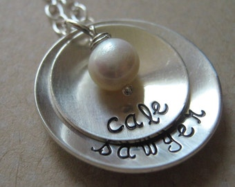 Simplicity hand stamped mothers necklace with freshwater pearl